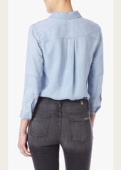 7 For All Mankind Patched Denim Shirt in Athenia Light Blue