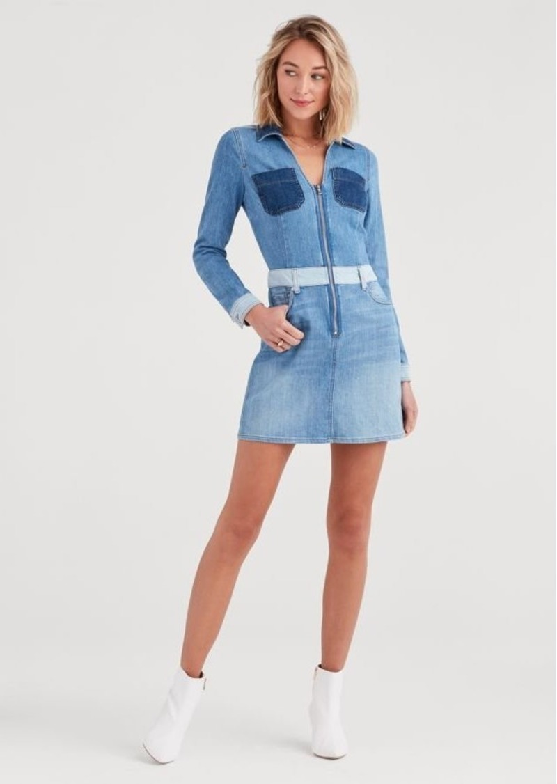 7 For All Mankind Patchwork Dress in Patchwork Sunrise