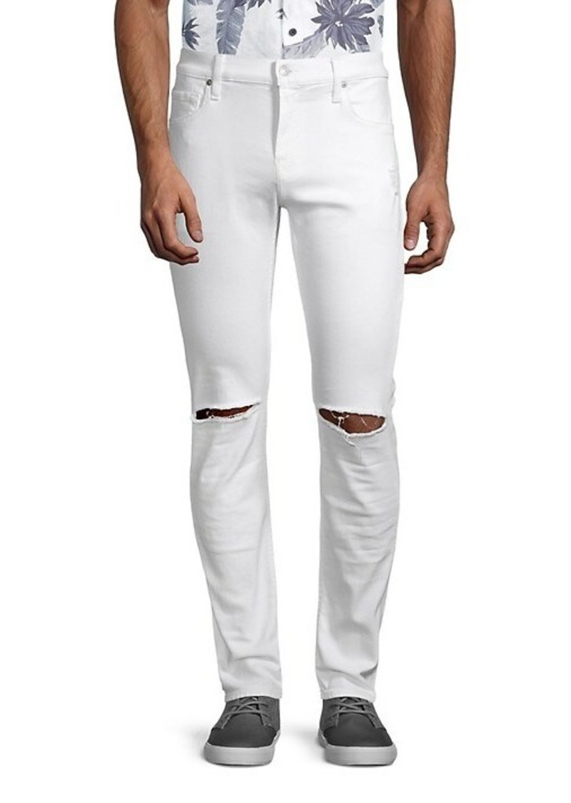 7 For All Mankind Paxtyn Clean Pocket Skinny-Fit Ripped Jeans