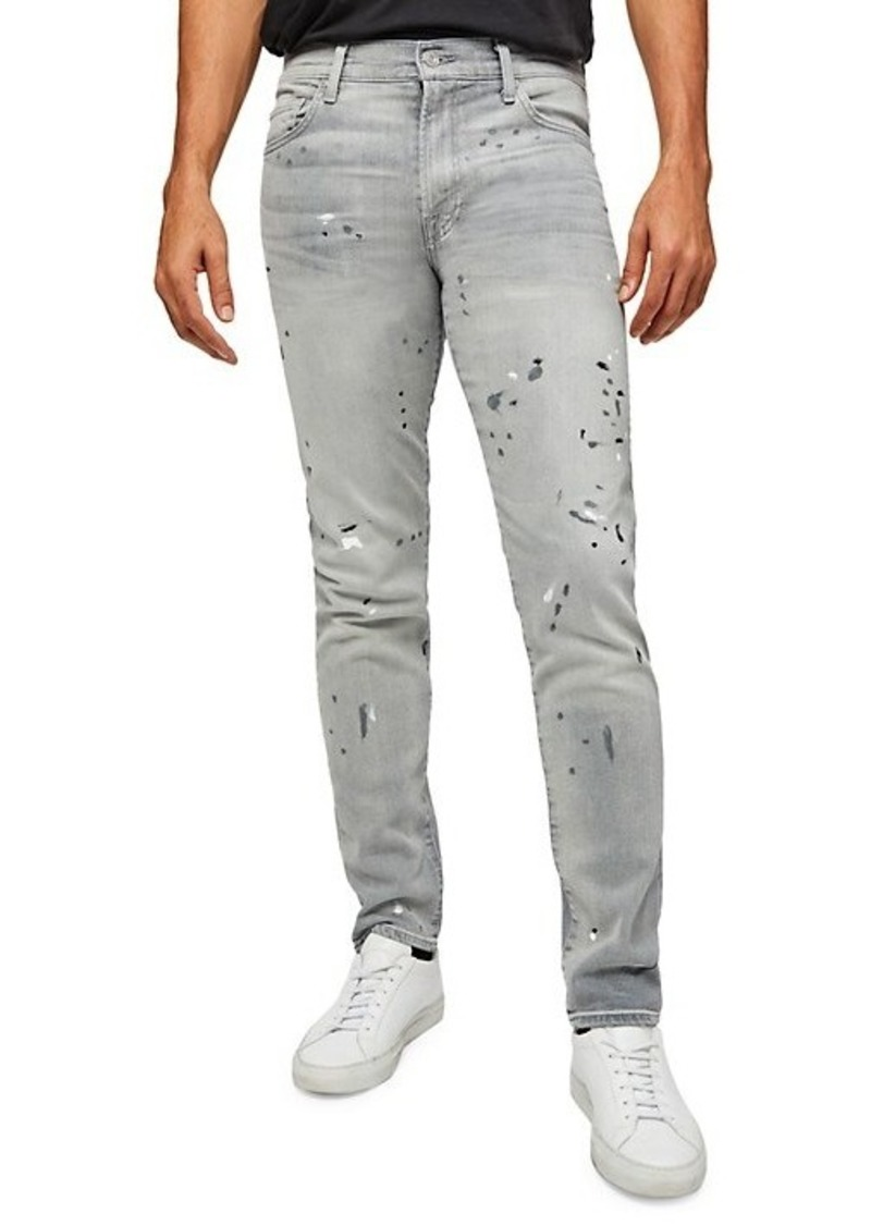 7 For All Mankind Paxtyn Slim-Fit Splatter Jeans