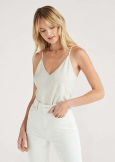 7 For All Mankind Pinstripe Cross Front Cami in Ivory and Black Stripe