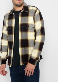 7 For All Mankind Plaid Shirt Jacket in Yellow/Brown Plaid