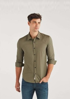 7 For All Mankind Poplin Roadster Long Sleeve Shirt in Army
