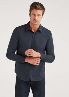 7 For All Mankind Poplin Roadster Long Sleeve Shirt in Black Micro Dot