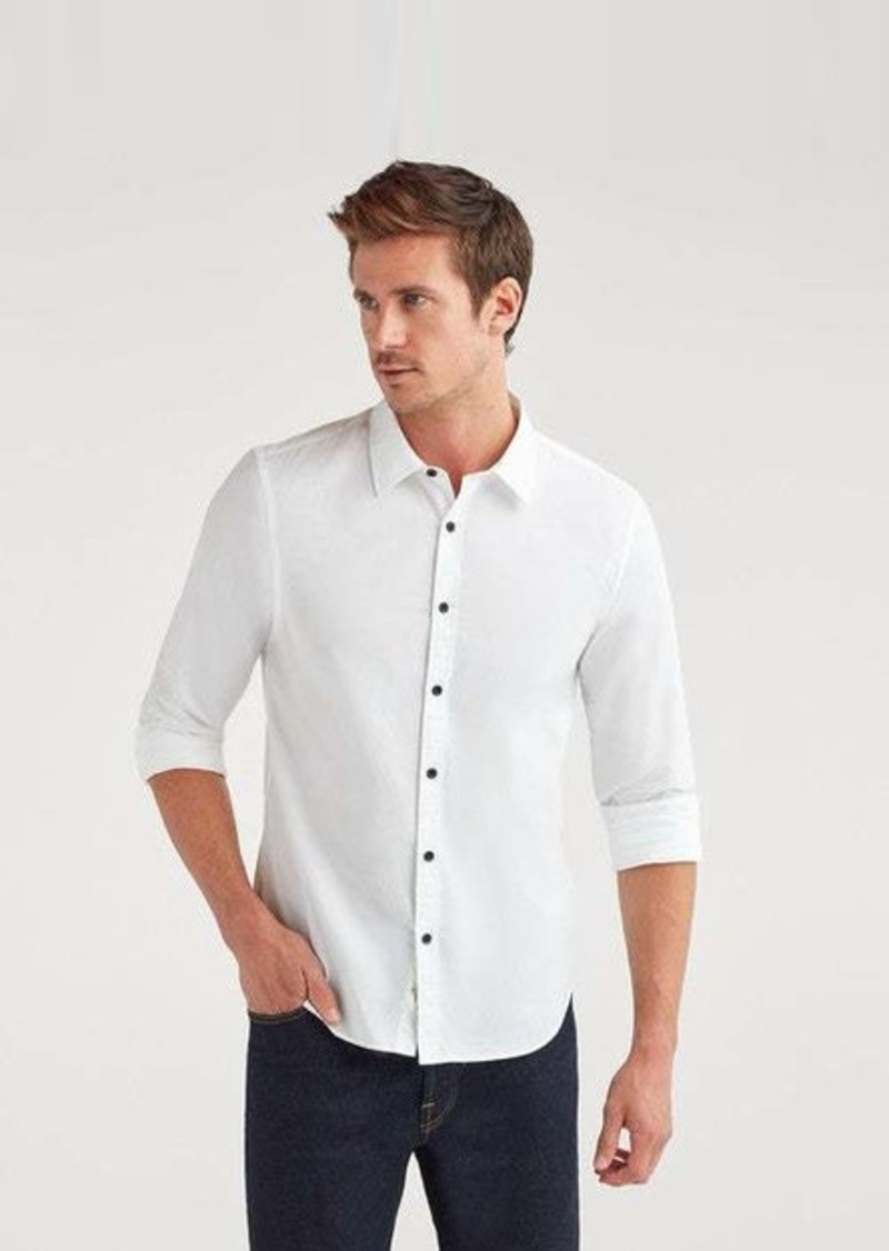 7 For All Mankind Poplin Roadster Long Sleeve Shirt in White