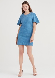 7 For All Mankind Popover Dress with Kick Sleeves in Bright Blue Jay