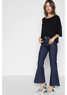 Priscilla Cropped Flare with Released Hem in Wilshire Rinse