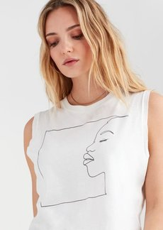 7 For All Mankind Profile Girl Muscle Tank in Optic White with Black Print