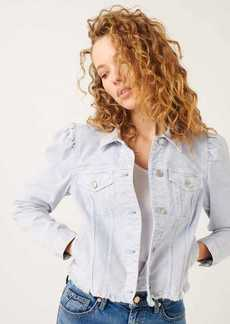 7 For All Mankind Puff Sleeve Jacket With Frayed Hem In Mineral Light Violet