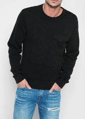 7 For All Mankind Quilted Patchwork Sweatshirt in Black