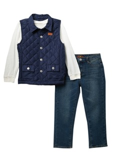 7 For All Mankind Quilted Vest & Jeans 3-Piece Set (Little Boys)