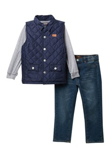 7 For All Mankind Quilted Vest & Jeans 3-Piece Set (Toddler Boys)