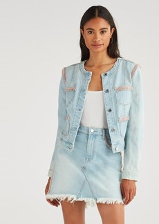 7 For All Mankind Rainbow Fringe Jacket in Sky High Blue