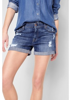 Relaxed Mid  Roll Short with Destroy in Barrier Reef Broken Twill