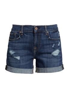 7 For All Mankind Relaxed Midroll Distressed Denim Shorts