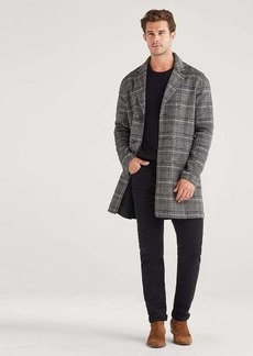 7 For All Mankind Reversible Overcoat in Glen Plaid Charcoal