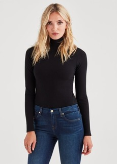 7 For All Mankind Rib Turtleneck Tee in Black