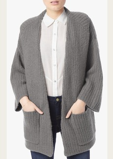 Ribbed Cardigan in Light Charcoal