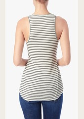 7 For All Mankind Ribbed Henley Tank in Cream and Black