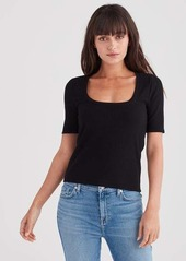 7 For All Mankind Ribbed Scoop Neck Tee in Black