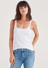 7 For All Mankind Ribbed Tank Top in Optic White