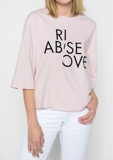 7 For All Mankind Rise Above 3/4'' Sleeve Tee in Pink Sunrise
