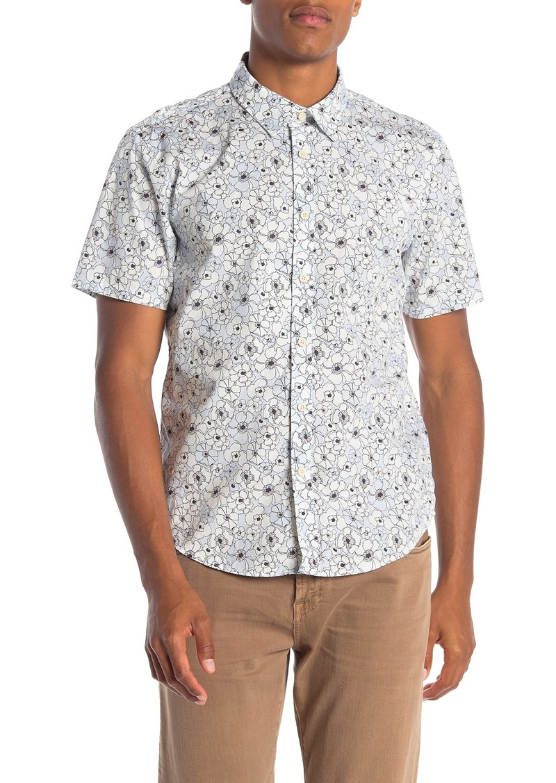 7 For All Mankind Roadster Short Sleeve Floral Print Trim Fit Shirt
