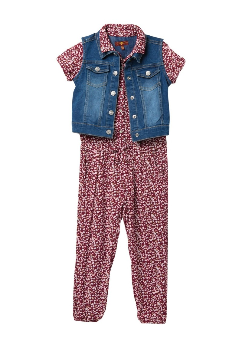 7 For All Mankind Romper Set (Toddler Girls)