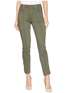7 For All Mankind Roxanne Ankle w/ Paneled Seams & Cut Off Hem in Army Sandwashed Twill