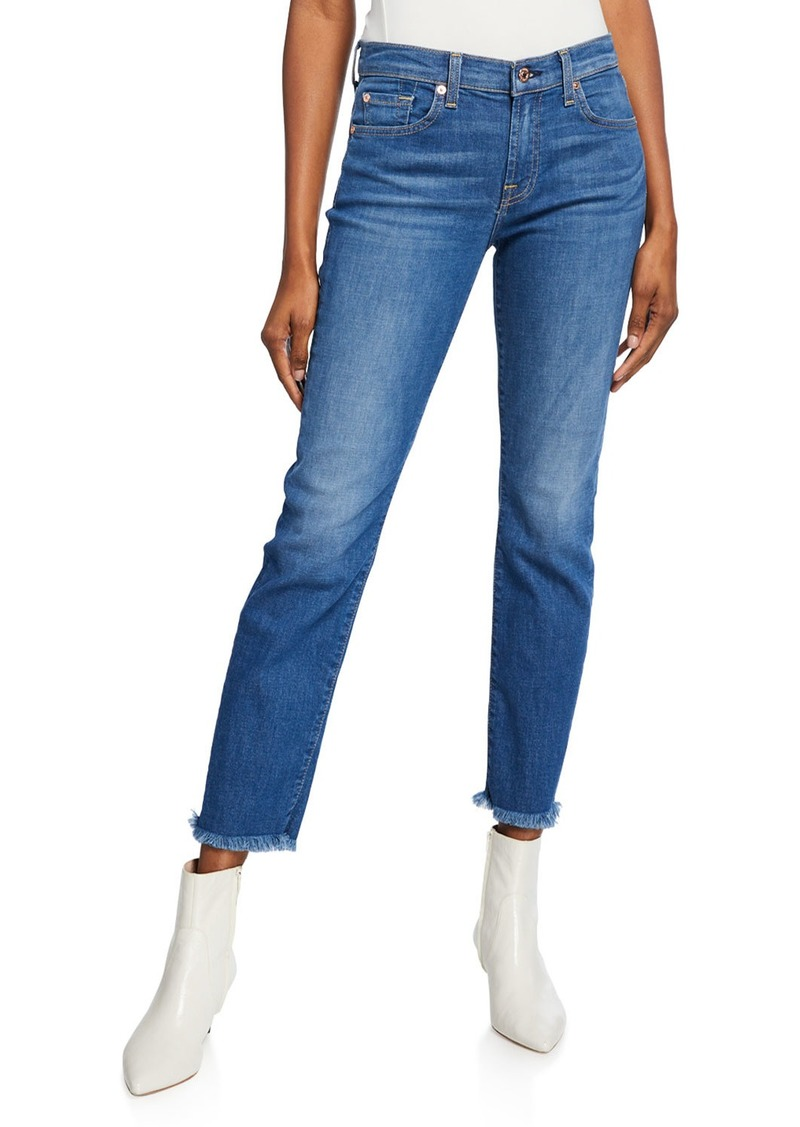 7 For All Mankind Roxanne Skinny-Leg Ankle Jeans w/ Frayed Hem