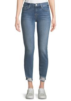 7 For All Mankind Roxanne Straight-Leg Jeans w/ Destroyed Hem