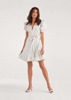 7 For All Mankind Ruffle Sleeve Wrap Dress in Black and White Linen Stripe