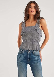 7 For All Mankind Ruffle Strap Top in Gingham