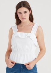 7 For All Mankind Ruffle Strap Top in White