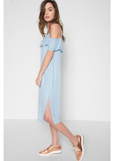7 For All Mankind Ruffled Slip Dress with Released Hem in Sunrise Blue