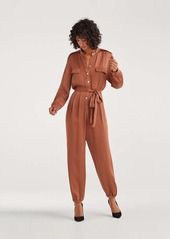 7 For All Mankind Satin Button Up Jump Suit in Penny
