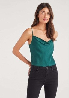 7 For All Mankind Satin Cowl Neck Cami in Dark Green