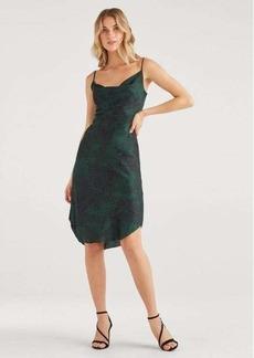 7 For All Mankind Satin Cowl Neck Slip Dress in Dark Green Python
