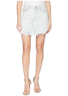 7 For All Mankind Scallop Frayed Hem Skirt in Desert Sun Bleached 6