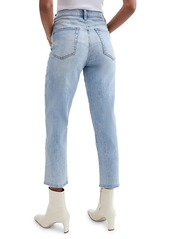 7 For All Mankind Scallop-Trim High-Rise Crop Straight Jeans