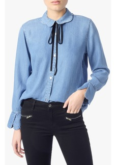 Scalloped Denim Shirt with bow tie Blue Haven