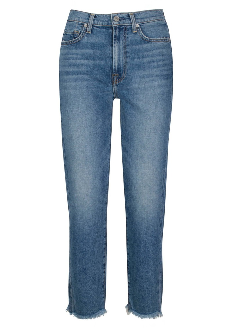 7 For All Mankind® Fray Hem Straight Ankle Jeans (Alpine)