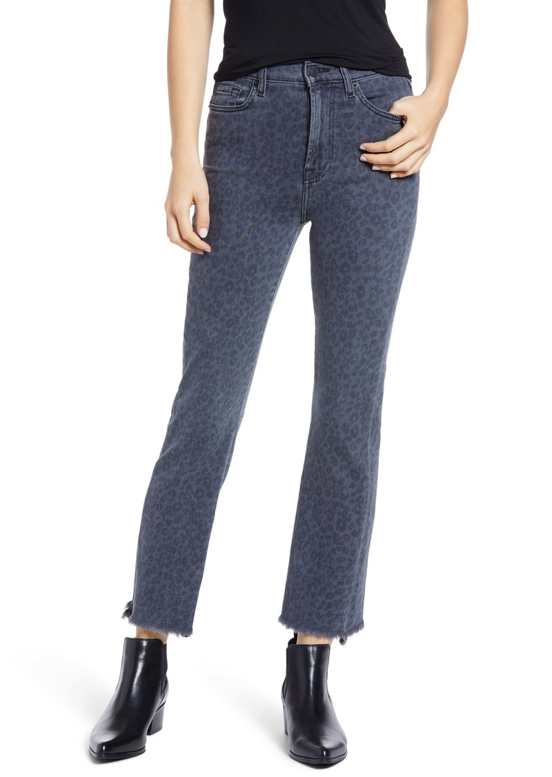 7 For All Mankind® High Waist Fray Hem Slim Kick Jeans (Harlow Laser)