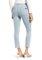 7 For All Mankind® Wavy Frayed Hem Ankle Skinny Jeans (Light Winona)