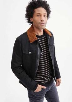 7 For All Mankind Shearling Denim Trucker Jacket in Black