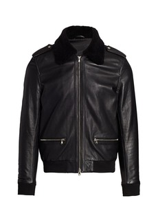 7 For All Mankind Shearling Fur-Trimmed Leather Jacket
