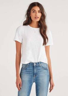 7 For All Mankind Shirred Sleeve Crew in Optic White