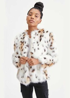 7 For All Mankind Short Fur Coat in Snow Leopard