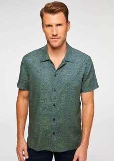 7 For All Mankind Short Sleeve Camp Collar Shirt in Navy & Grass Dots