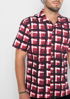 7 For All Mankind Short Sleeve Hazy Plaid Shirt in Port Wine